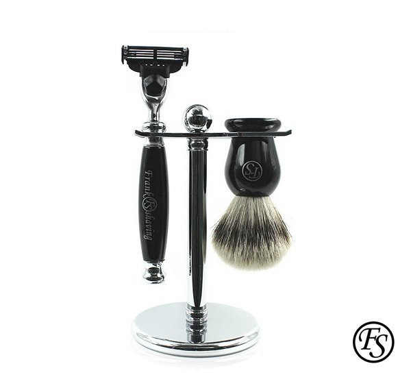 Frank Shaving Pure Ivory Mach3 仿黑檀修容套組