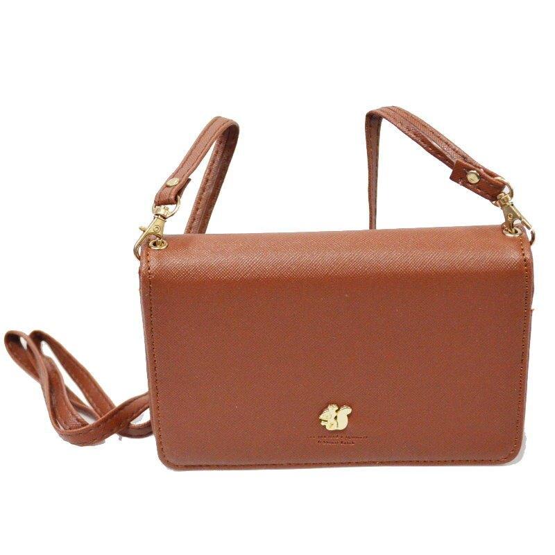 松鼠長款拉鍊手機包 側背包 零錢包 證件收納包【GS215】 123便利屋