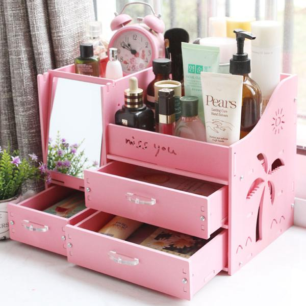 化妝品收納盒桌面收納盒子梳妝臺化妝盒抽屜式置物架 夏洛特居家名品