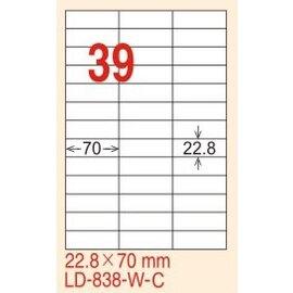 【龍德】LD-838(直角) 雷射、影印專用標籤-金/銀色 22.8x105mm 15大張/包