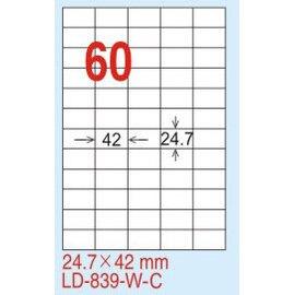 【龍德】 LD-839(直角-五色) 雷射、噴墨、影印三用電腦標籤 24.7x42mm 20大張/包