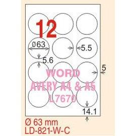 【龍德】LD-821(圓形) 透明三用標籤(可列印) 63mm圓 5大張/包