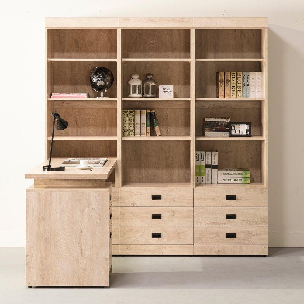 【日本直人木業】KELLY白橡木180CM三個三抽書櫃搭配伸縮書桌