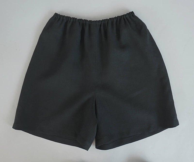 瓦夫--Masa亞麻亞麻佩蒂褲橡膠可調溫柔內褲內衣內褲/黑色P003A-BCK1
