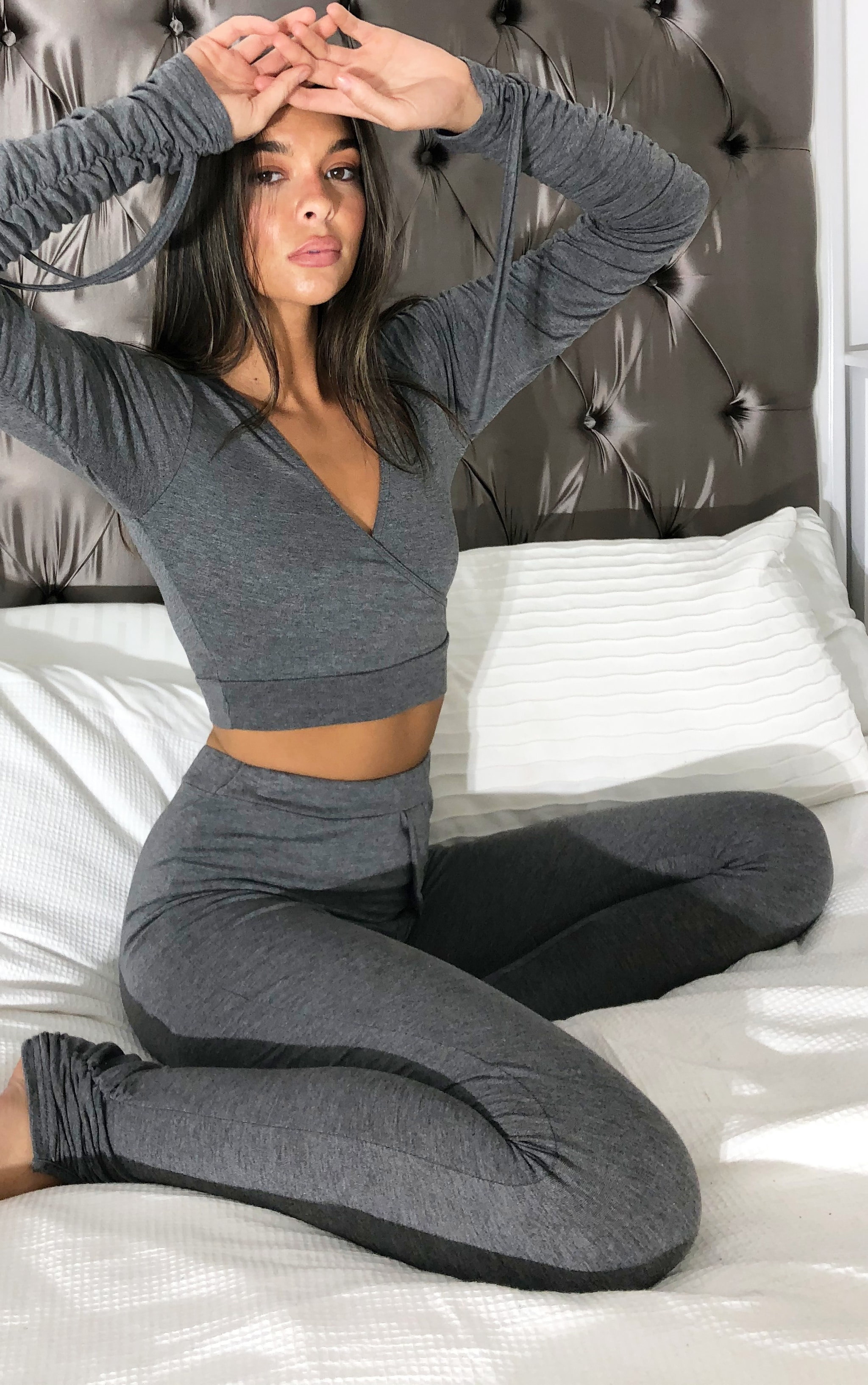 Charcoal Grey Wrap Front Ruched Long Sleeved Crop Top