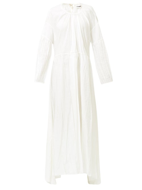 Jil Sander - Nanashi Drawstring Creased Voile Maxi Dress - Womens - White