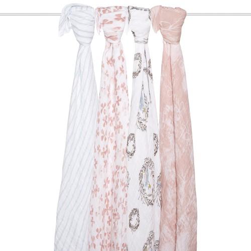 美國 aden+anais 輕柔新生兒包巾(4入)-鳥語系列 AA2062【佳兒園婦幼館】