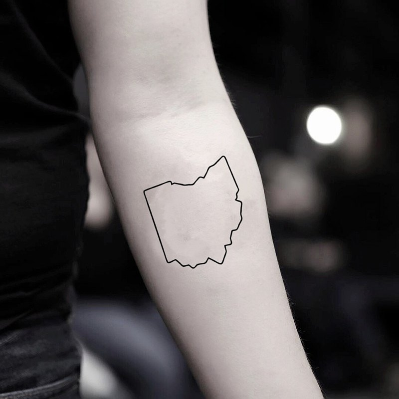 OhMyTat 俄亥俄 Ohio 刺青圖案紋身貼紙 (2 張)