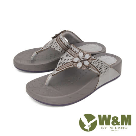 W&M (女) 大花厚底彈力夾腳拖鞋 女鞋 -灰(另有桃)