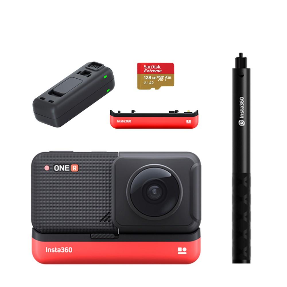 Insta360 ONE R 全景鏡頭套裝 贈128G+原廠電池+原廠座充+自拍棒(東城代理商公司貨)