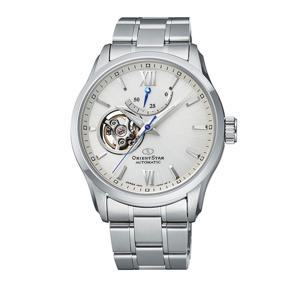 ORIENT STAR 東方之星 OPEN HEART系列 小鏤空機械錶 鋼帶款 白色 RE-AT0003S