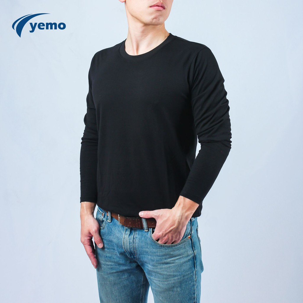 YEMO益茂 素色長袖圓領棉T-Shirt 長袖 棉T 長袖上衣 素T TCL20