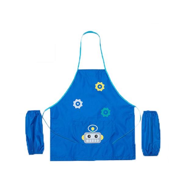 兒童畫畫衣機器人三件式卡通圍裙美術防水布料男童女童工作服袖套幼兒院美術班