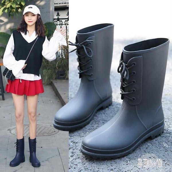 新款時尚小馬靴套鞋輕便防滑水雨靴中筒水鞋膠鞋潮成人雨鞋女 DJ12128