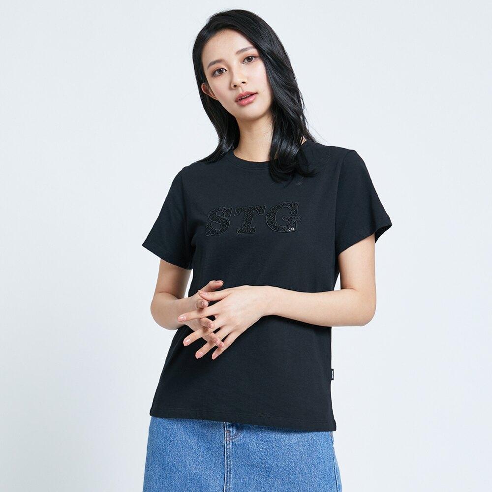 SOMETHING 立體繡亮片短袖T恤-女款 黑色