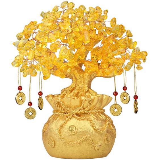 裝飾品擺件 吉善緣 黃水晶搖錢樹擺件 招財樹家居酒柜裝飾工藝品客廳小發財樹