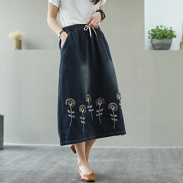 鬆緊腰中長款刺繡牛仔半身裙(2色L,XL)