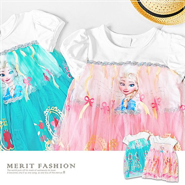 冰雪奇緣公主馬車紗裙短袖洋裝 藍色 女童禮服 女童裝 夏天 女童洋裝 愛紗 紗裙 短袖 哎北比童裝