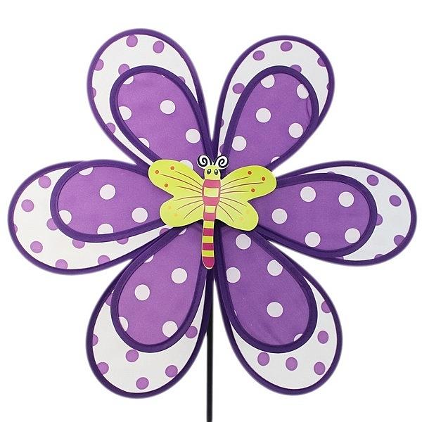 圓點雙層風車 昆蟲 大型 直徑39cm/一袋5支入(促90) 大加小尼龍布彩色風車 風車童玩-YF12254