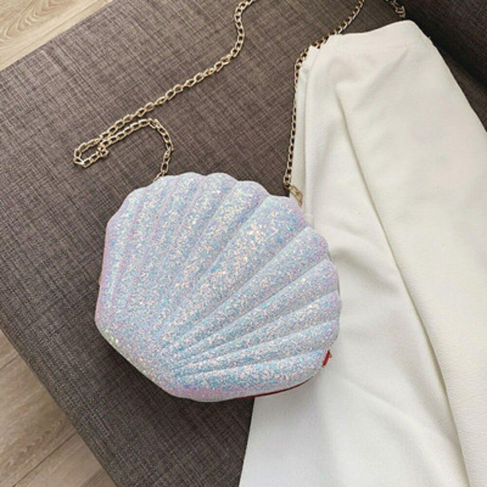 斜背包 高級感包包洋氣網紅貝殼2020新款女時尚質感百搭鍊條斜背包 3色【全館免運 限時鉅惠】