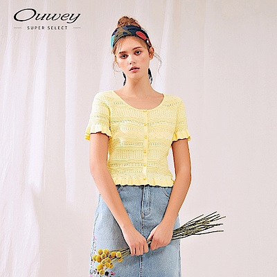 OUWEY歐薇 復古甜美荷葉短版針織外套(黃/紫)