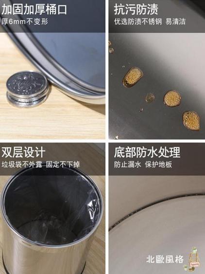不銹鋼垃圾桶大號 雙層創意圓形酒店廁所客廳 家用衛生間廚房無蓋 夏洛特居家名品