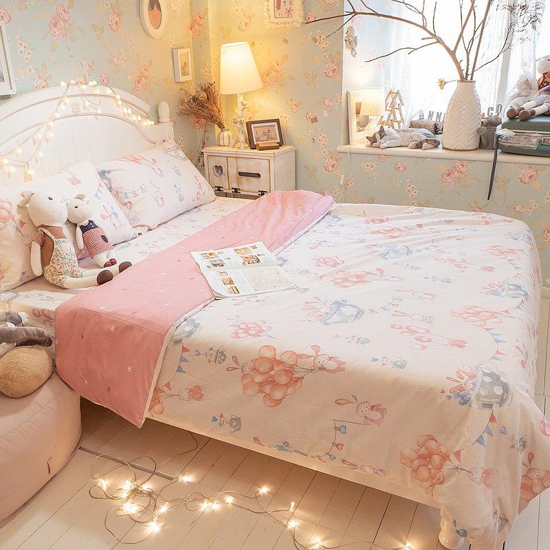 樂園氣球兔 100%精梳棉 床包組 台灣製造
