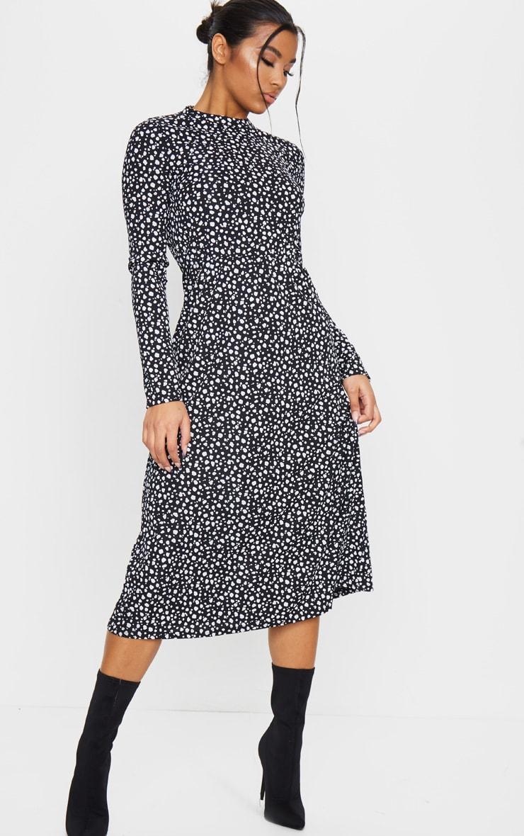 Black Dalmatian Print Long Sleeve Rib Midi Dress