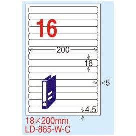 【龍德】LD-865(圓角) 透明三用標籤(可列印) 18x200mm 5大張/包