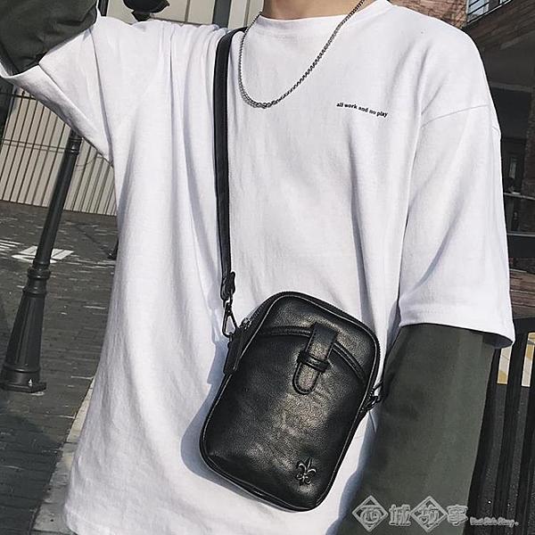 一件八折 潮流新款時尚青年小包戶外運動騎行挎包潮流皮質男士單肩包手機包 西城故事