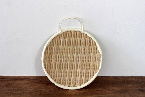 雅竹  竹編丸型盆有把手27cm【竹道具】