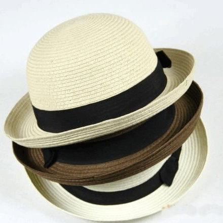 可翻邊時尚造型沙灘帽 草編編織圓頂帽 禮帽 太陽帽 草帽