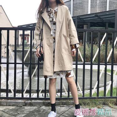風衣女春秋風衣女中長款韓版chic寬鬆西裝領一粒扣長袖上衣外套居家物語生活館