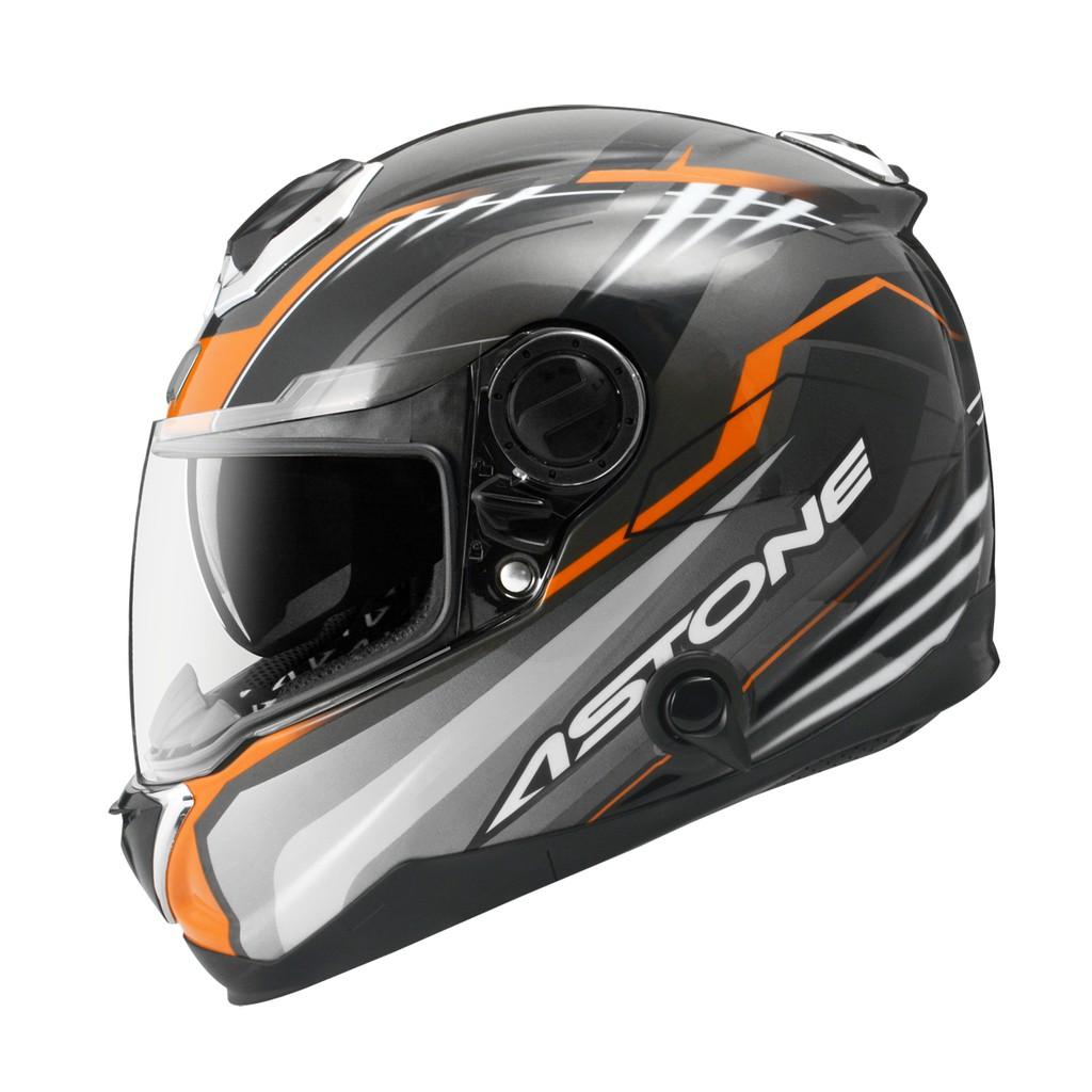 【ASTONE】GT1000F AC6(黑銀橘) 碳纖維 全罩式安全帽 內藏墨片 眼鏡溝 雙D扣 內襯快拆