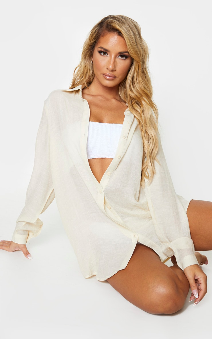 Stone Linen Look Oversized Beach Shirt