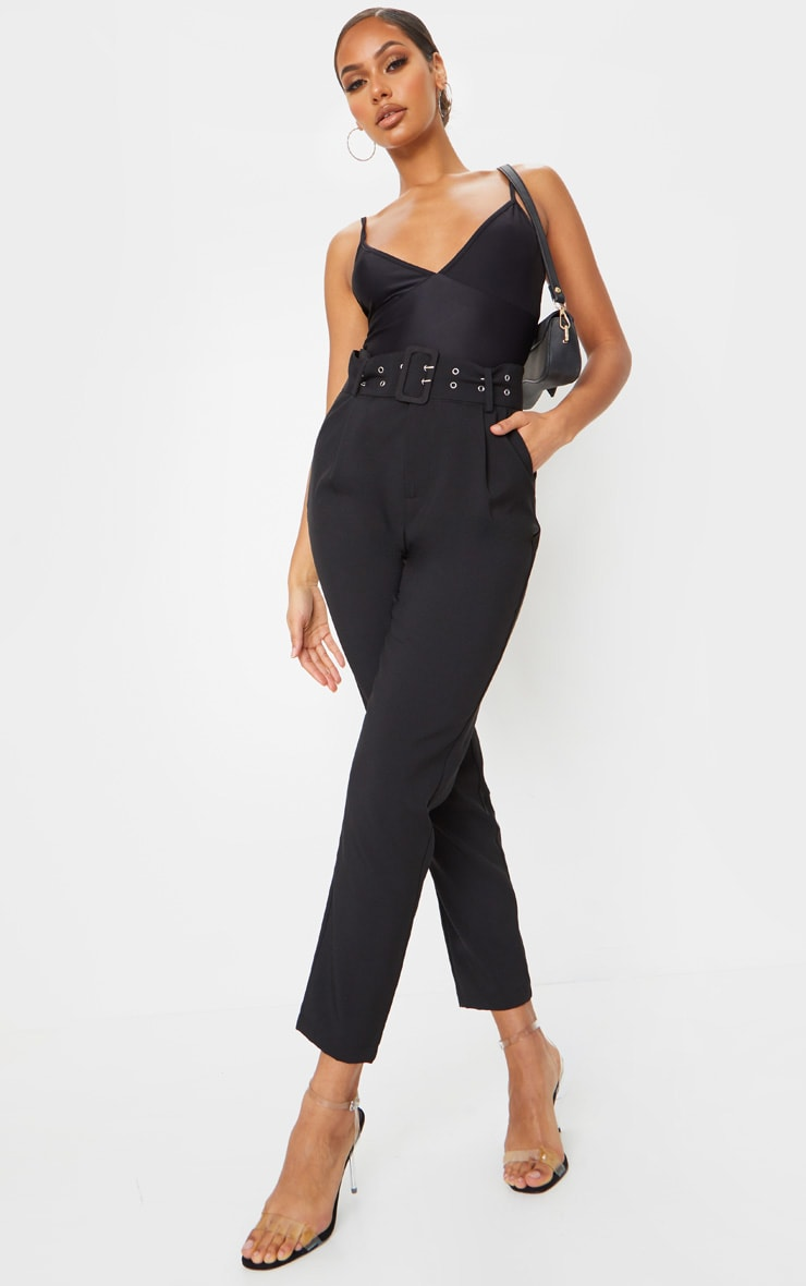 Black Dual Buckle Belted Cigarette Pants
