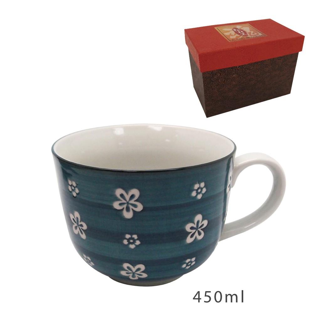【陳媽媽小舖】日本製手造手繪大碗杯-藍色 (精美手工盒裝) 111BC-361B(藍)