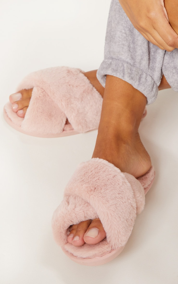 Pink Fluffy Cross Strap Slippers
