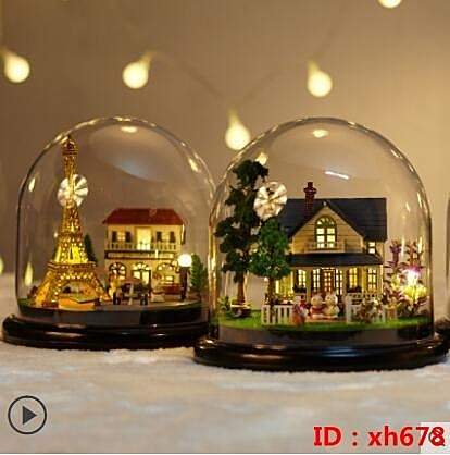 diy手工製作小屋房子摩天輪迷你仿真微縮景觀拼裝模型創意禮物