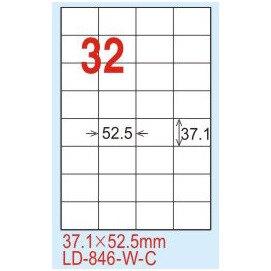 【龍德】LD-846(直角) 雷射、影印專用標籤-白銅板 37.1x52.5mm 20大張/包