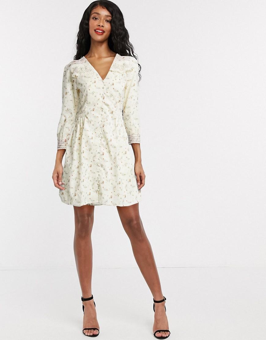 Object mini tea dress in cream floral-White