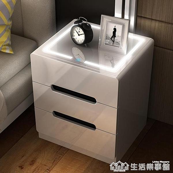 網紅床頭櫃北歐風臥室簡約現代迷你床邊小型帶燈ins多功智能櫃子 NMS生活樂事館