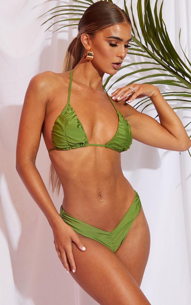 Olive Ruched Front & Back Bikini Bottom