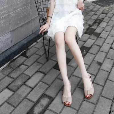 LN 現+預 歐美風側空Q軟底魚口涼鞋-3色