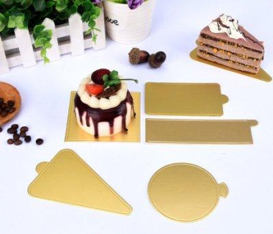 【嚴選SHOP】10入 小金卡食品級蛋糕墊 小蛋糕金色底托 慕斯蛋糕托 蛋糕墊 糕點紙墊 蛋糕金色硬紙托【C110】底托