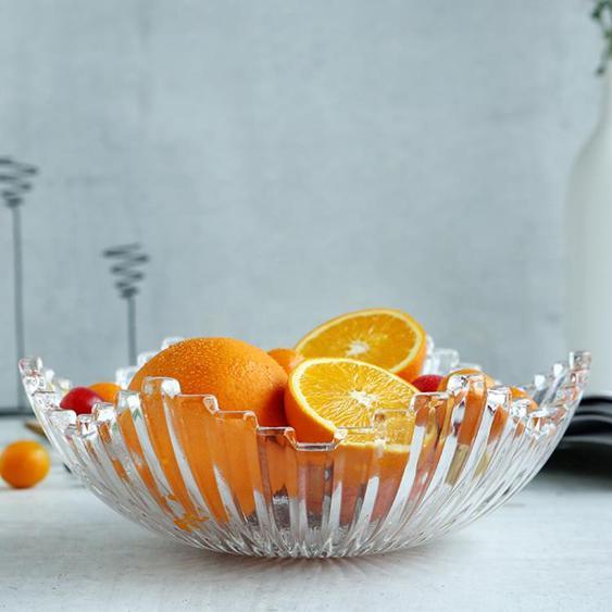 水果盤 青蘋果玻璃創意旋律深盤歐式客廳家用大號水果盤堅果零食果斗果籃