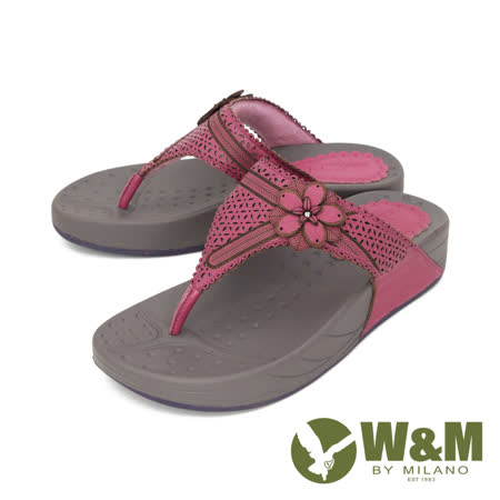 W&M (女) 大花厚底彈力夾腳拖鞋 女鞋 -桃(另有灰)