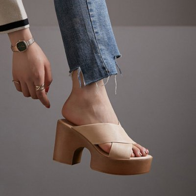 Fashion*輕便高跟涼拖 頭層羊皮厚底涼鞋 復古羅馬沙灘涼鞋/跟高9cm 34-39碼『棕色 米色』