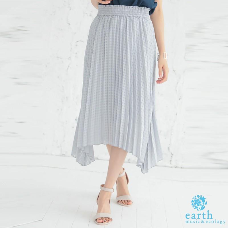 earth music&ecology 不規則下擺設計格紋百摺裙(1B96L0L0600)
