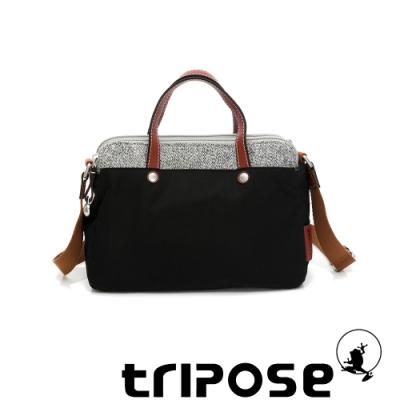 tripose 漫遊系列岩紋雙拉鍊手提斜背包 潮感黑